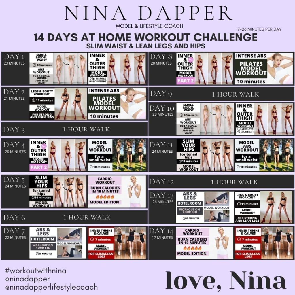 Workout Challenge 14 days Nina Dapper